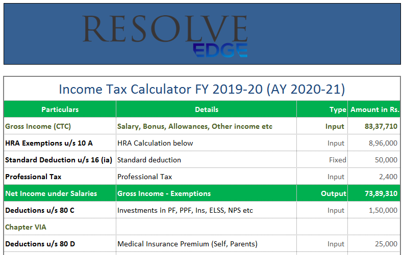 Income-Tax-Calculator-FY-2019-20 - ResolveIndia Resources