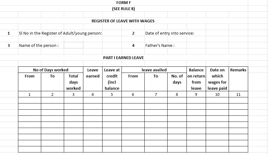 form f - register of leave with wages - ka